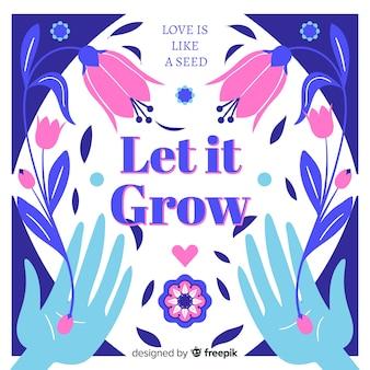 Mensagem positiva com flores