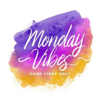 Mensagem positiva de letras de segunda-feira em aquarela