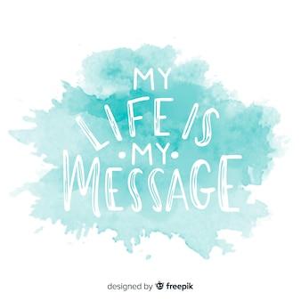 Mensagem positiva em mancha de aquarela