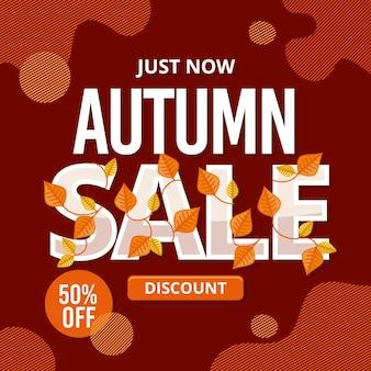 Mensagem promocional de venda plana do outono