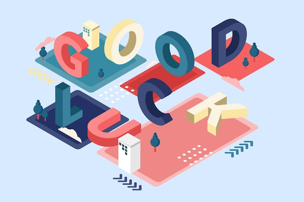 Mensagem tipográfica isométrica de boa sorte