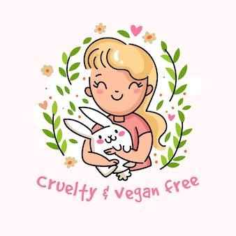 Mensagem vegana e sem crueldade com mulher segurando um coelho