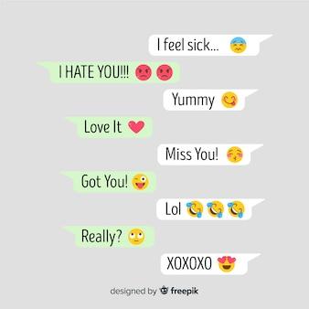 Mensagens com reações de emojis