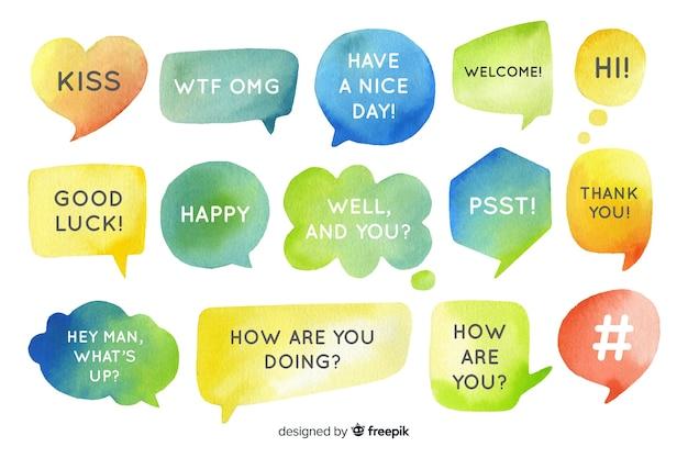 Mensagens curtas em bolhas de bate-papo em aquarela