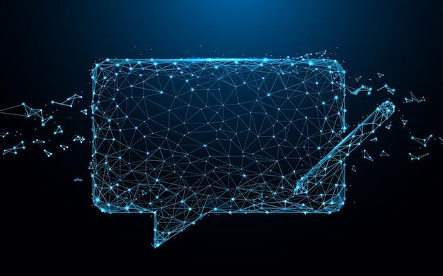 Mensagens de bate-papo linhas de forma de ícone e partícula