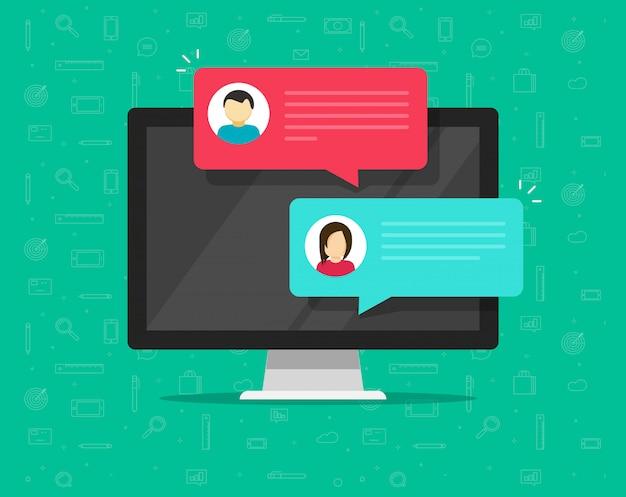Mensagens de bolha de notificação de bate-papo on-line de computador no celular ou telefone móvel