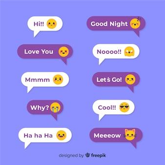 Mensagens de design plano bolhas com emojis