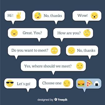 Mensagens de design plano com coleção de emojis