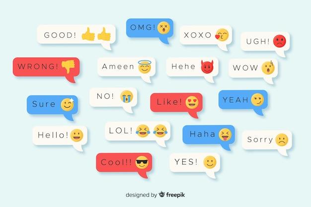 Mensagens de design plano multicoloridas contendo emojis