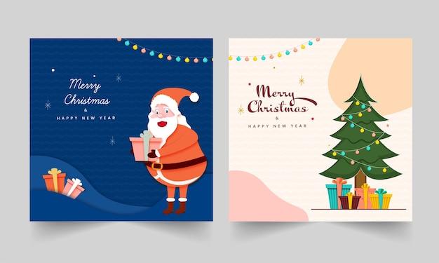 Mensagens de feliz natal e feliz ano novo ou cartão em duas opções de cores.