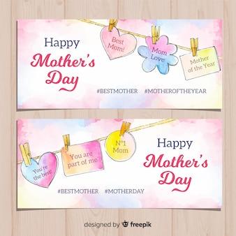 Mensagens de suspensão banner aquarela de dia das mães