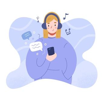 Mensagens de texto adolescente lendo mensagens, personagem de desenho animado