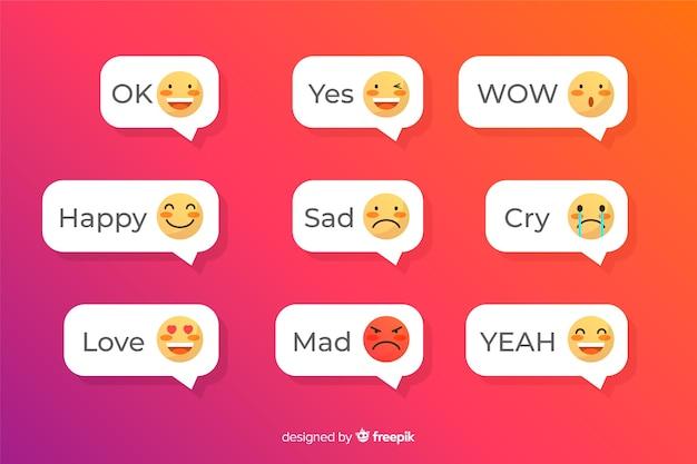 Mensagens de texto com aplicação de emojis