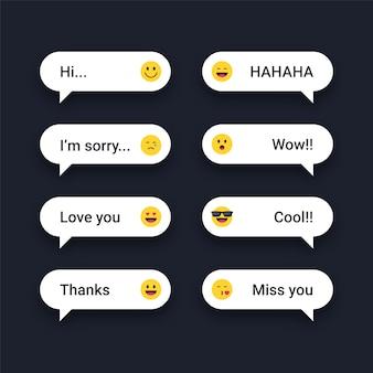 Mensagens de texto com reações de emojis
