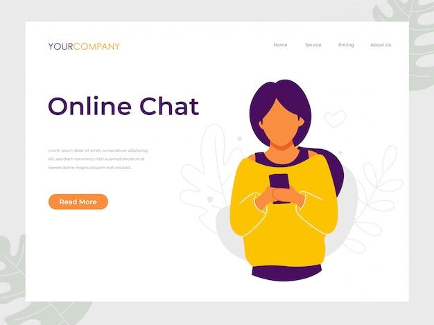 Mensagens de texto de mulher de bate-papo on-line