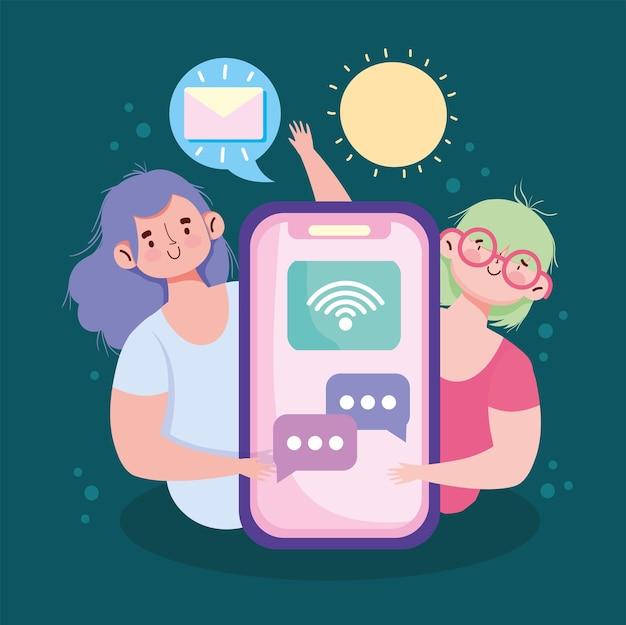 Mensagens de texto para meninas no smartphone