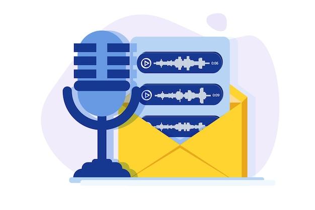 Mensagens de voz, conceito de reconhecimento de voz.