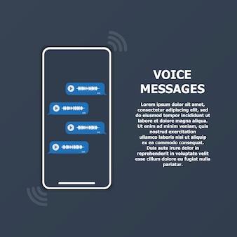 Mensagens de voz na tela do telefone e texto à direita.