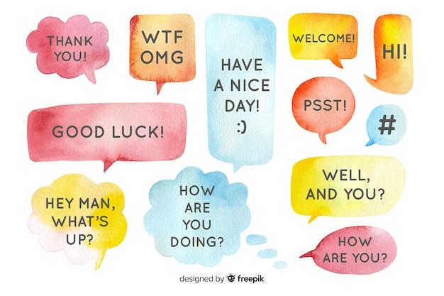 Mensagens em balões de fala em design aquarela