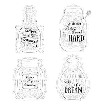 Mensagens positivas em frascos