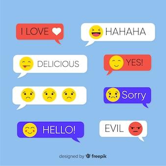 Mensagens retas de design plano com emojis