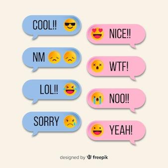 Mensagens simples com modelo de emojis