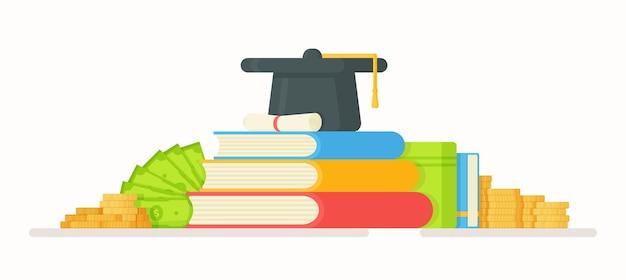 Mensalidade da faculdade. ilustração de troco de dinheiro. pagamento da faculdade. aulas online. universidade, estudo, dinheiro, ensino. Vetor Premium