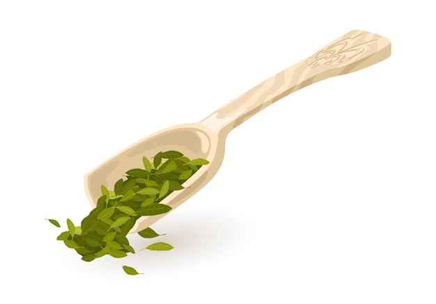 Menta para chá de ervas ou folhas de louro derramadas da pá da cozinha, da concha, do depósito