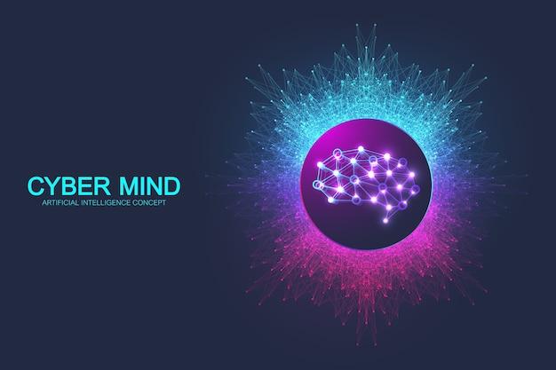 Mente cibernética e conceito de inteligência artificial.