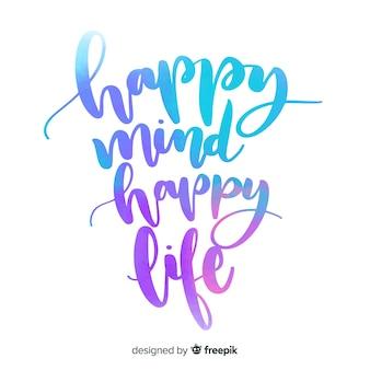 Mente feliz vida feliz aquarela letras