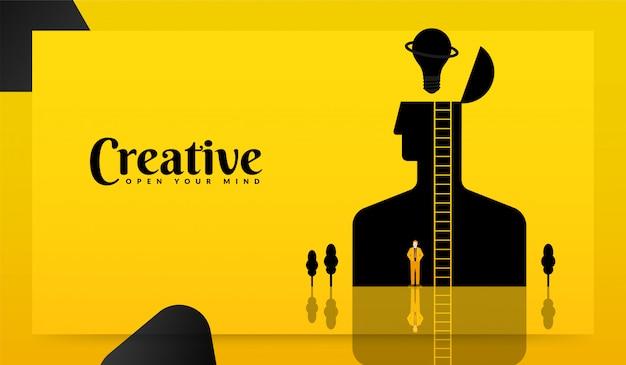 Mente humana aberta para alcançar o conceito de objetivo, empresário de pé com sua escada para encontrar a ideia