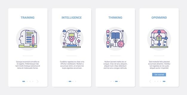 Mente, processo, cérebro, intelecto, educação, ux, ui, aplicativo móvel, onboarding