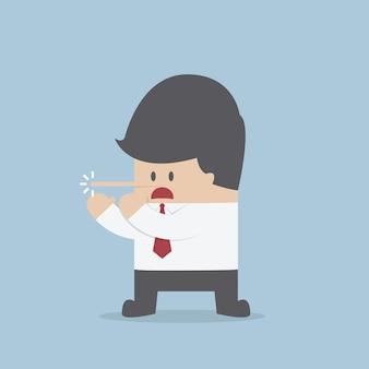 Mentindo empresário com nariz comprido
