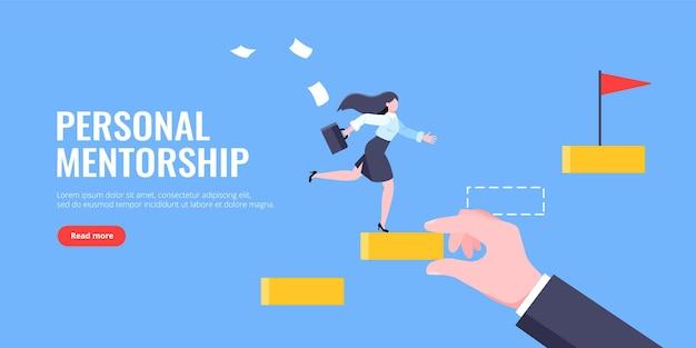 Mentor de negócios ajuda a melhorar a carreira e ilustração vetorial de degraus de escada