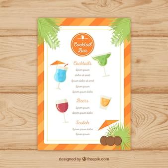 Menu cocktail com borda laranja