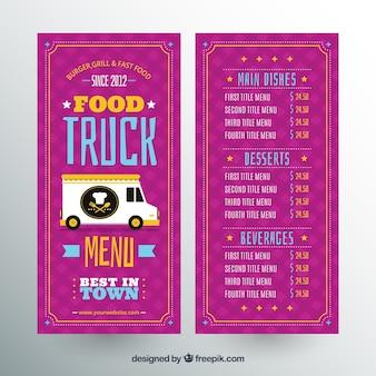 Menu colorido do caminhão de alimentos com design plano