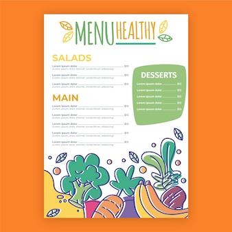Menu colorido do restaurante de comida saudável