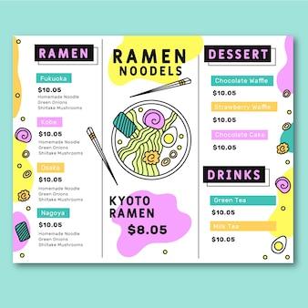 Menu colorido do restaurante modelo