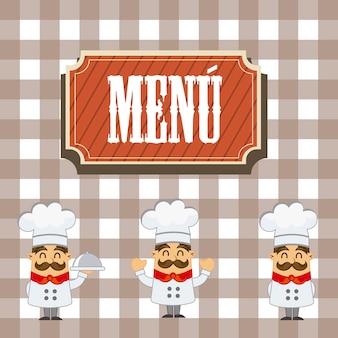 Menu com chef de desenho animado sobre vetor de fundo de praças
