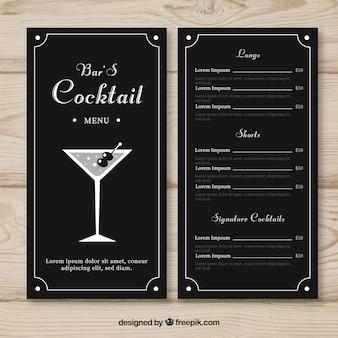 Menu com cocktails diferentes na mão desenhada estilo