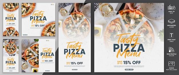 Menu comida mídia social post modelo vector design.pizza modelo de menu pode ser usado para promoção.