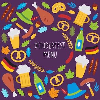 Menu da oktoberfest fundo com cerveja salsicha pretzel folhas de trigo chapéu bandeira alemã