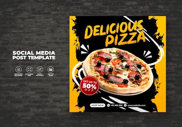 Menu de alimentos e melhor pizza deliciosa para mídias sociais modelo de vetor