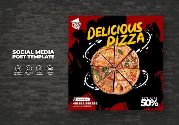 Menu de alimentos e pizza deliciosa para mídias sociais modelo de vetor