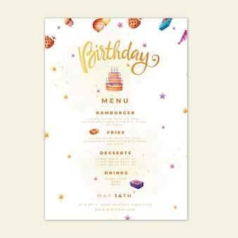 Menu de aniversário com modelo de bolo