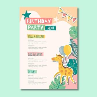 Menu de aniversário infantil