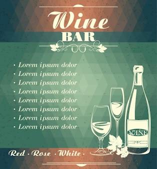 Menu de bar de vinhos