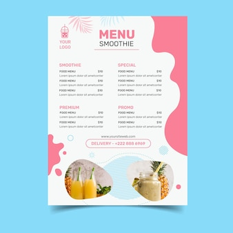 Menu de barra de smoothies