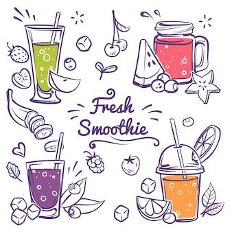 Menu de bebidas e limonada saudável em conjunto de vidro