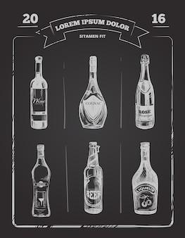 Menu de bebidas na lousa na mão desenhada estilo
